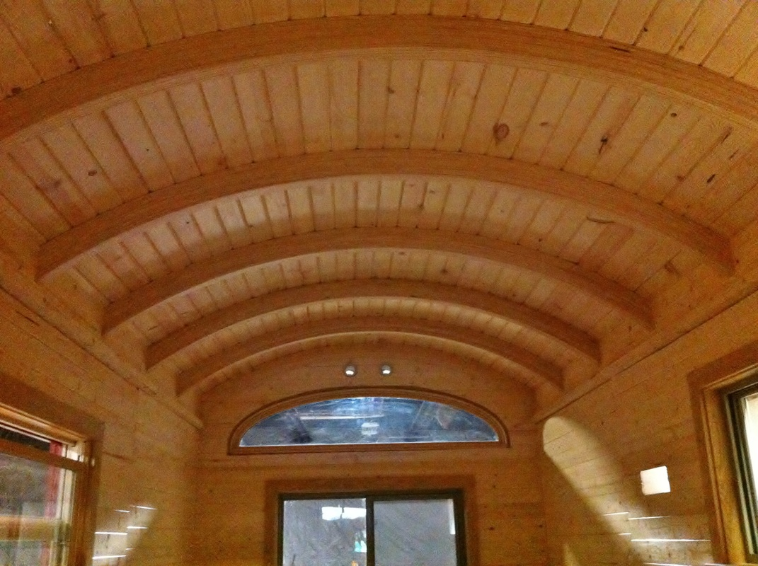 TURN ON IMAGES to see curved ceiling of the tiny house.