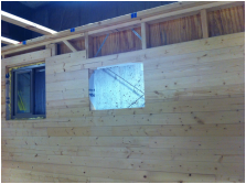 TURN ON IMAGES to see nearly finished wall inside tiny house